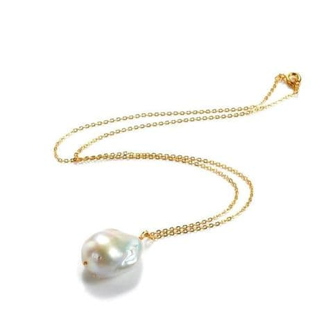 Single Pearl Necklace Large Baroque Pearl on Gold Chain