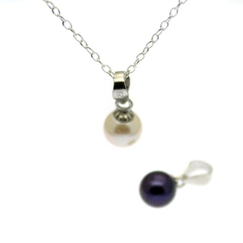 Single Pearl Pendant Round 6mm Pearl Sterling Silver; Black or White