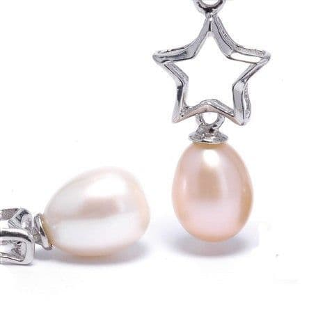 Star Pendant Sterling Silver Star with Cultured Pearl Drop Silver Chain