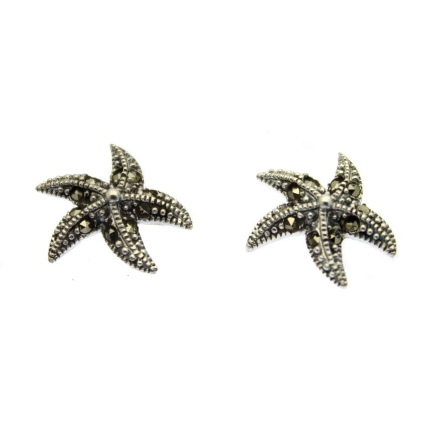 Starfish Earrings Marcasite inlaid Sterling Silver