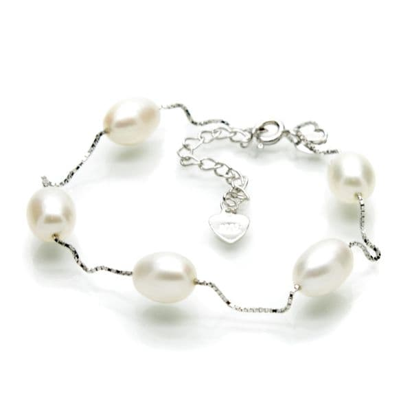 Station Style Pearl Bracelet Sterling Silver Oval Pearls