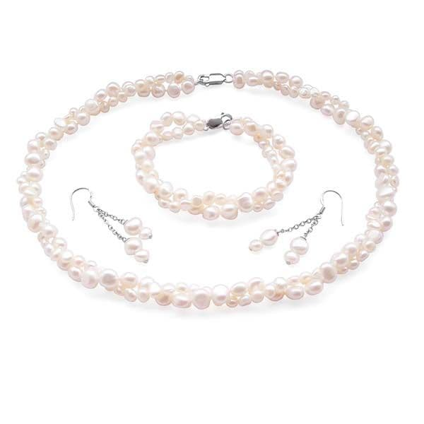 White Pearl Baroque Necklace Bracelet & Earring Set Double Strand