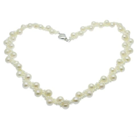 """White Round Pearl & Seed Pearl Necklace Sterling Silver 17"""""""